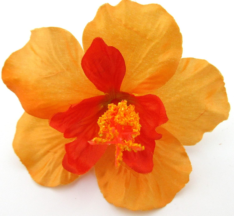 4 1//2 Orange Hibiscus Poly Silk Flower Brooch Pin