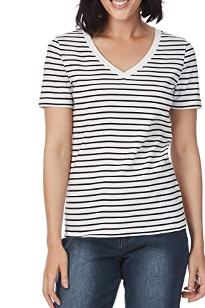 29a5f7fd1ceb Rockmans Short Sleeve V-Neck Stripe Tee at Amazon Women's Clothing store: