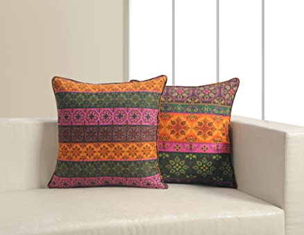 Buy ShalinIndia Tribal Print Cushion Cover Set With 2 Throw Pillow