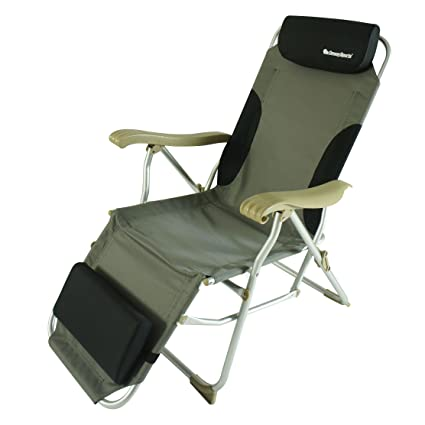 OnwaySports Aluminum Frame Reclining Chair With Headrest And Footrest  Lightweight Foldable Portable For Camping (Grey