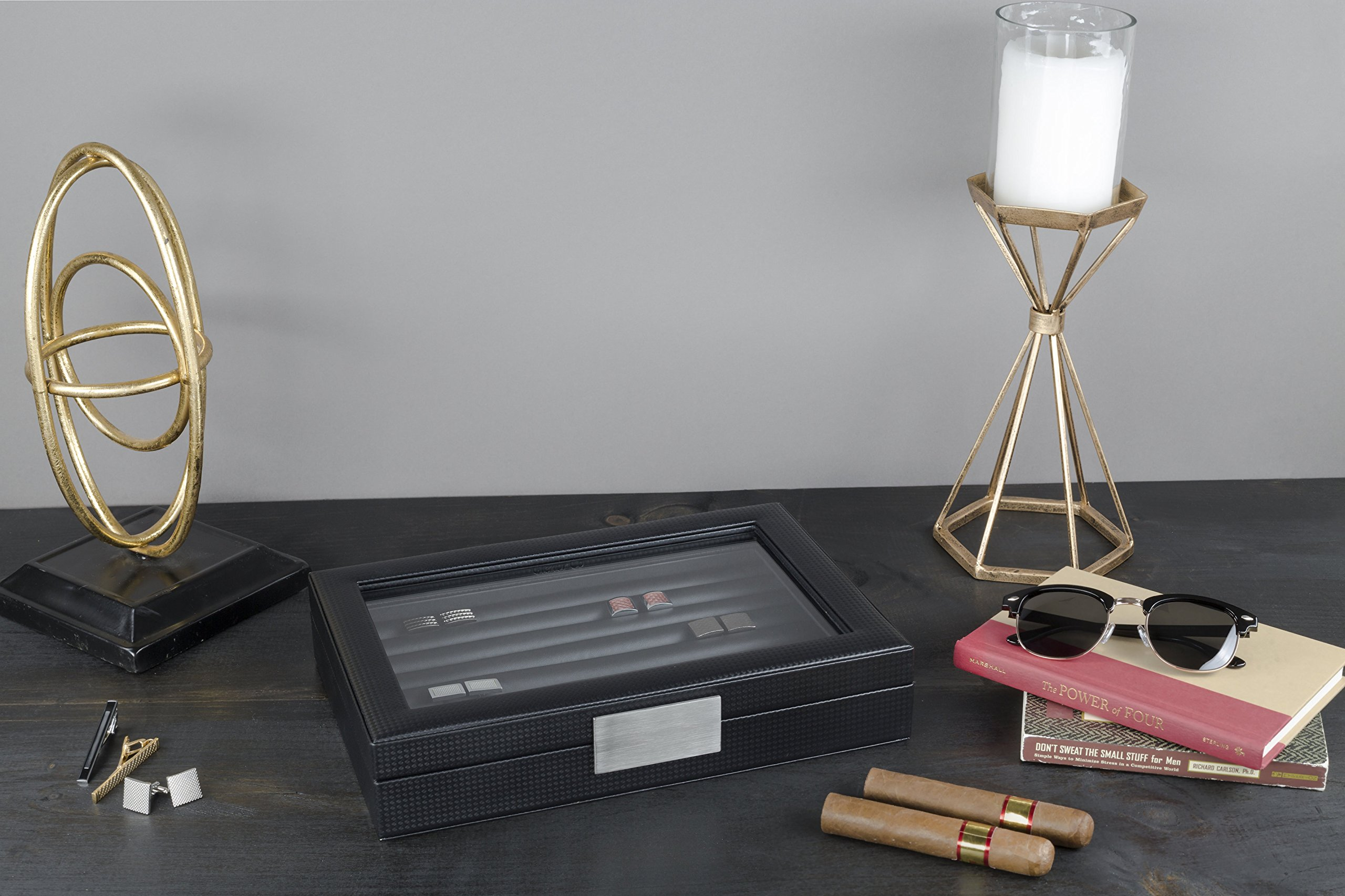 Glenor Co Cufflink Box for Men - Holds 70 Cufflinks - Luxury Display Jewelry Case -Carbon Fiber Design - Metal Buckle Holder, Large Glass Top - Black by Glenor Co (Image #5)