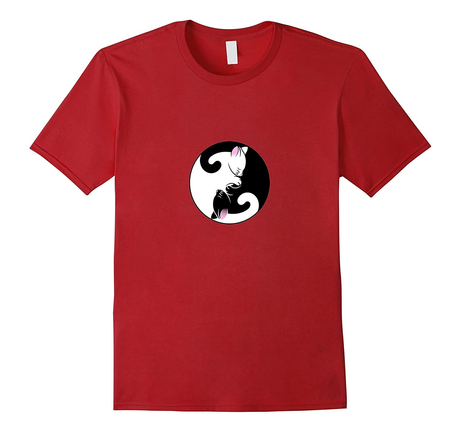 Cat T-Shirt Yin Yang Black and White Chinese Opposites-CL