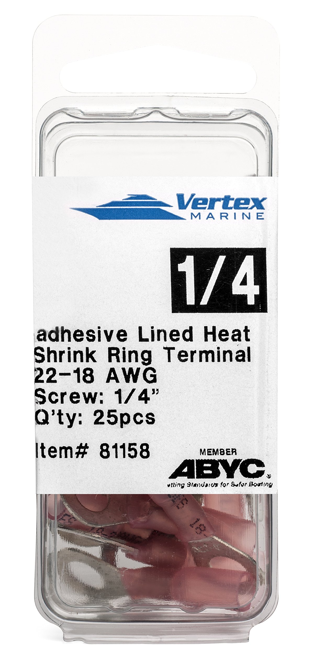 Ring Terminal Marine Grade - Adhesive Lined Heat Shrink - A81158 - 22-18 AWG - 1/4'' Stud - 25 Pack