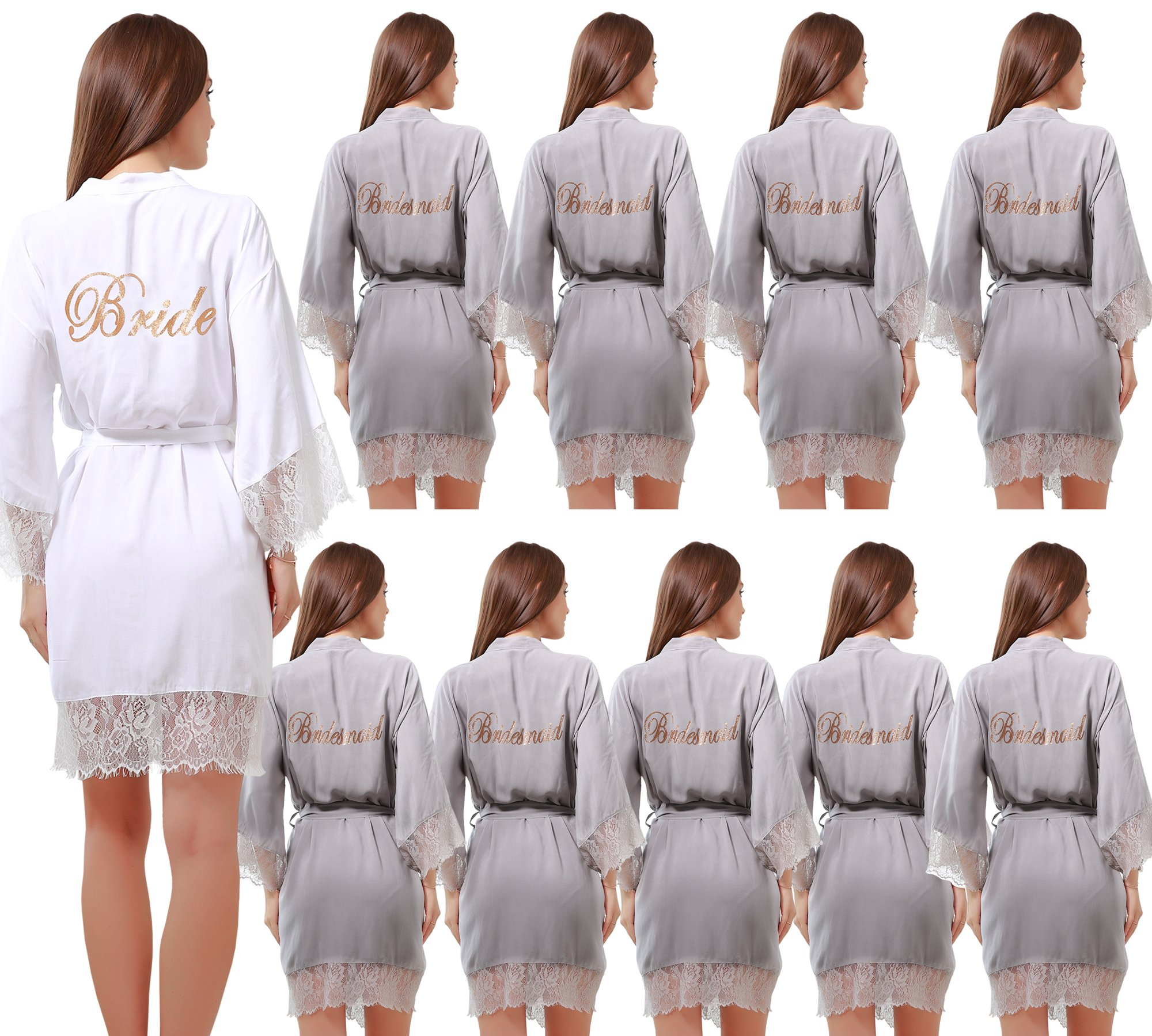 Set of 10 Women's Cotton Kimono Robes Wedding Party Gifts for bride and Bridesmaid with Lace Trim