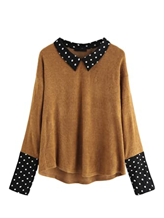 87ac20ca65a4 Romwe Women s Loose Contrast Polka Dot Collar Long Sleeve Blouse Knit Tops  at Amazon Women s Clothing store