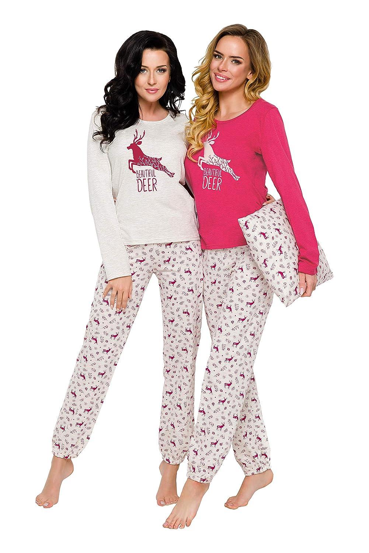 TARO Schlafanzug für Damen Winter Frauen Zweiteiler Pyjamas in Verschiedenen Trendige Modellen Warme Leichte Baumwolle