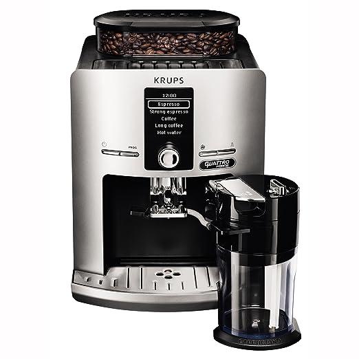 Krups EA82FE Independiente Totalmente Automática - Cafetera (Independiente, Máquina espresso, 1,7 L, Granos de café, Molinillo integrado, Plata)