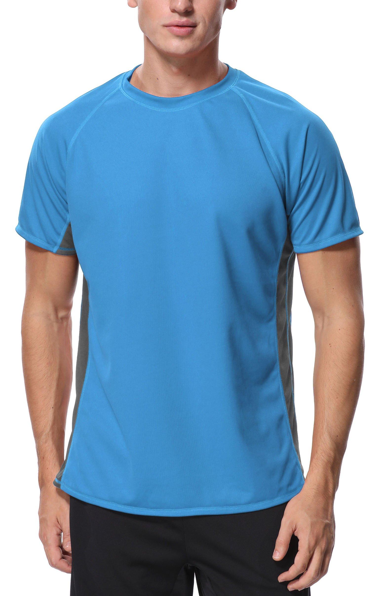 beautyin Men Rash Guard Top UPF 50+ Short Sleeve Sun Shirt Solid Surf Swim Shirt