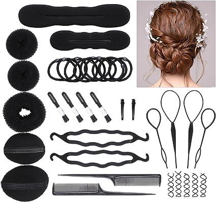 Small GIRLS DOUGHNUT BUN Black Back Hair Band Sponge Plate Style Stick Maker UK