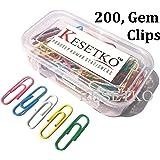 KESETKO Paper Clips, U Clips, Gem Clips, 30mm, (200 PCS) Multicolored