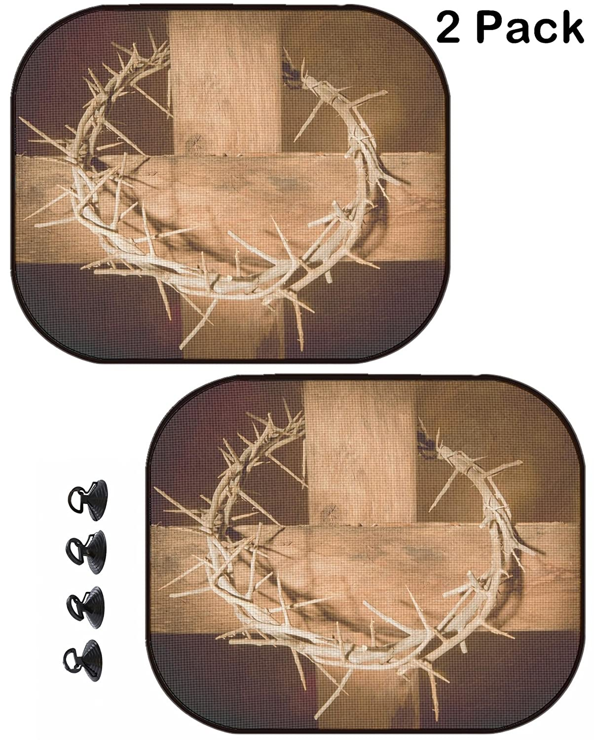 2 Pack Image ID MSD Car Sun Shade Protector Side Window Block Damaging UV Rays Sunlight Heat for All Vehicles 4198739 Crown of Thorns Hanging on a Wooden Cross at Easter