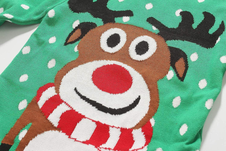 Camii Mia Big Girls Xmas Reindeer Funny Pullover Ugly Christmas Sweater