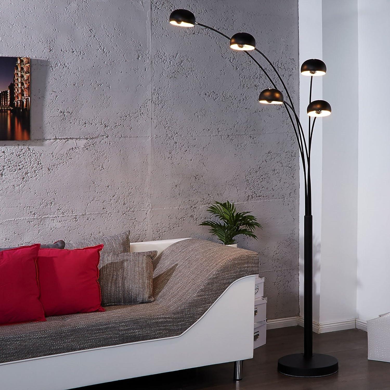 DESIGN LOUNGE STEHLAMPE 5 FIVE FINGERS  schwarz, groß, retro klassiker mit fünf drehbaren Lampen