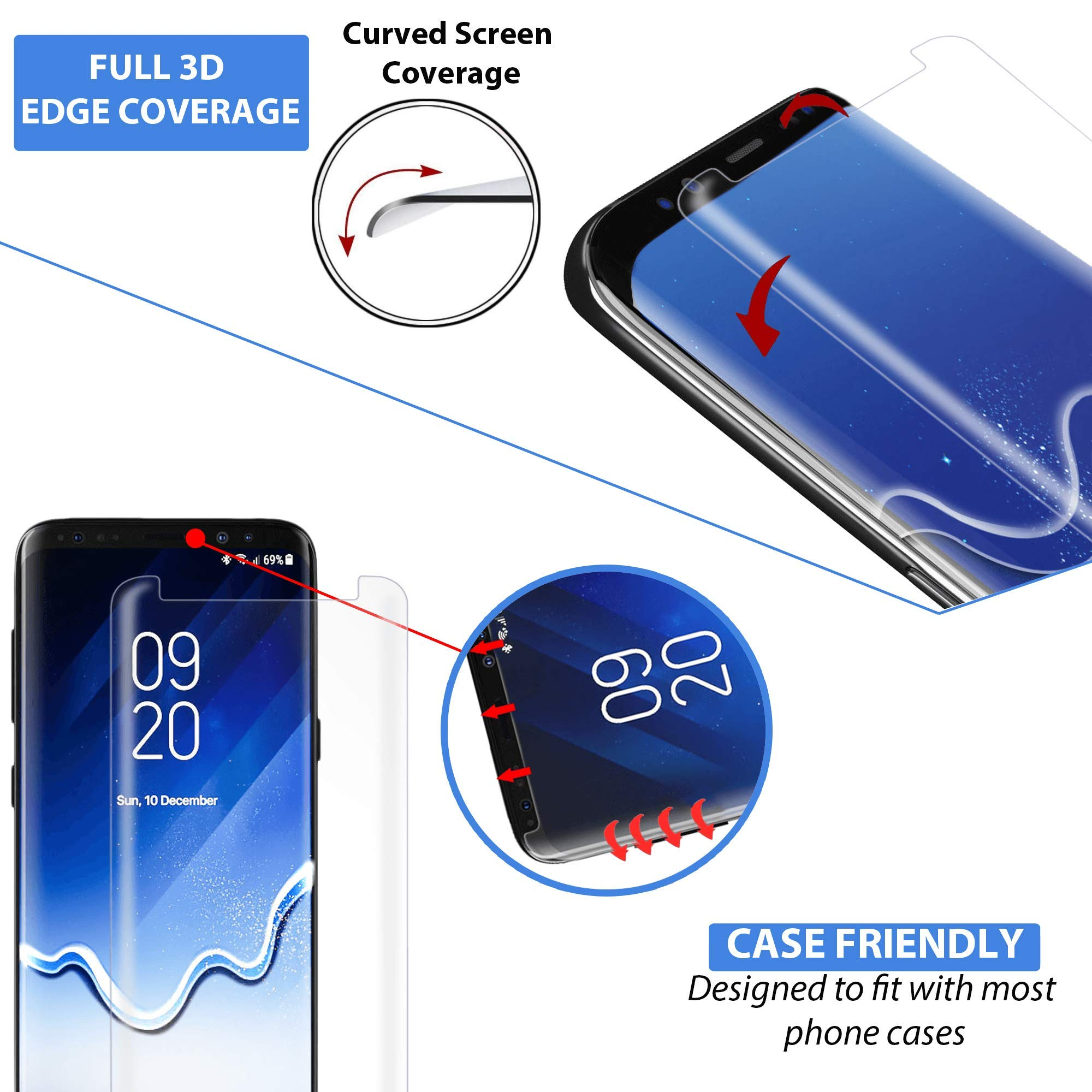 Clearview Samsung Galaxy S8 Liquid Tempered Glass Screen Protector - 9H Ultra Clear HD Japanese Glass, Full Screen Edge Coverage, Easy Install, Loca UV Light, Case Friendly (Full Kit) by Clearview (Image #3)