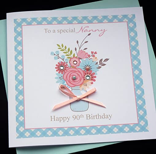 Handmade Personalised Flower Vase Birthday Card Nanny Granny Grandma Auntie Sister