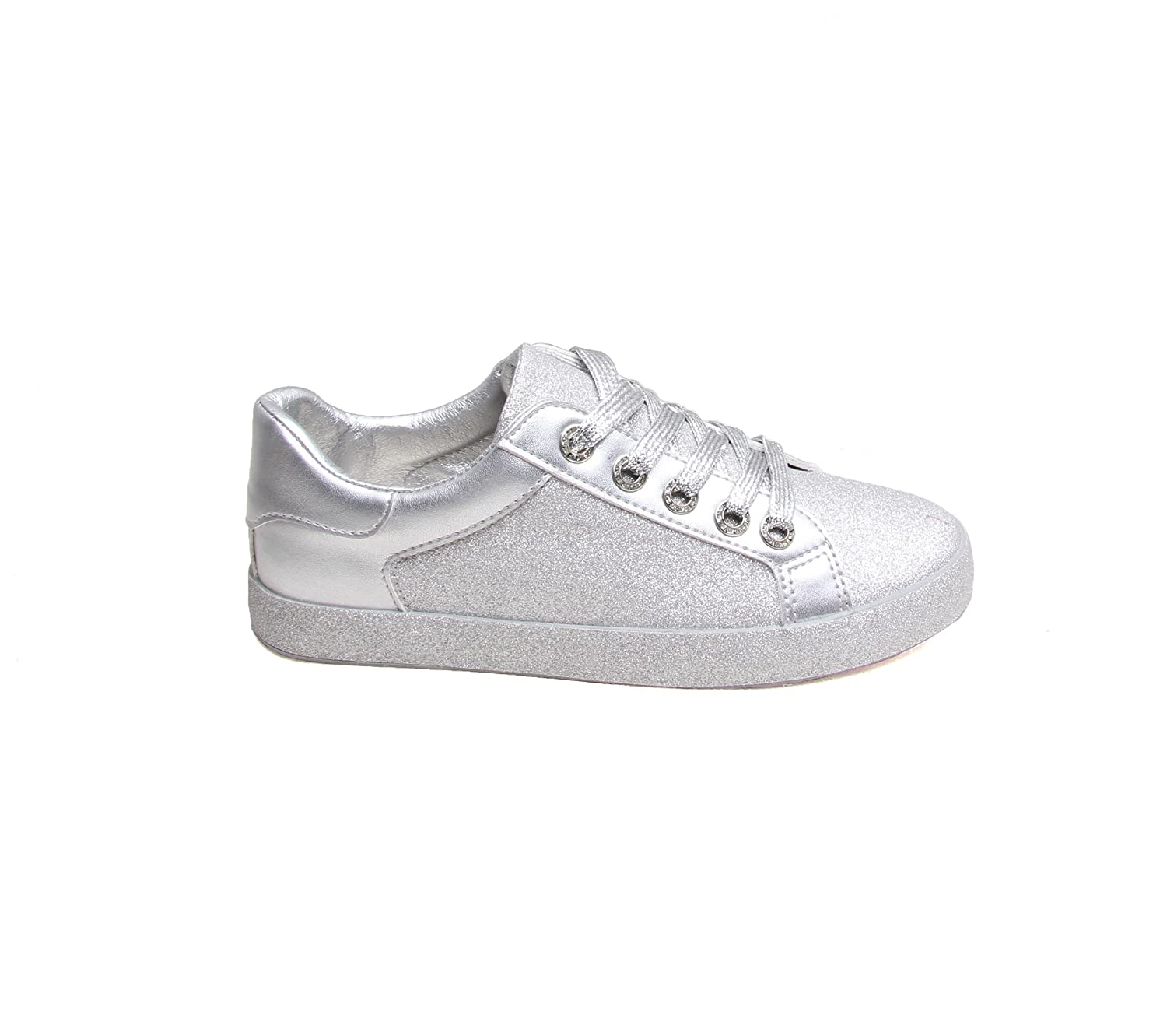 f43df344d43 GLOSSY Womens Ladies Glitter Sparkly Bling Fashion LACE UP Flat Casual Trainers  Pumps  Amazon.co.uk  Shoes   Bags