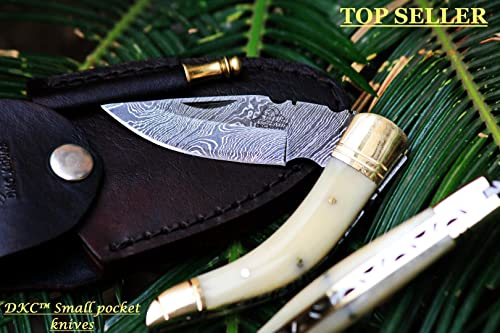 DKC Knives 20 6 18 DKC-530 BODELLI Damascus Steel Folding Pocket Knife 4.5 Folded 7.5 Long 3 Blade 5 oz High Class Hand Made
