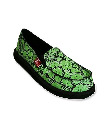 Zapatillas de mujer en lona negra con estampado de encaje verde - Mocasines de lona para