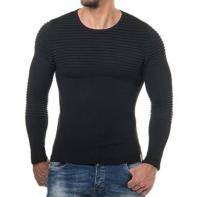 EightyFive Herren Pullover Body Fit Rundhals Grau Weiß Schwarz EF1647,  Größe XL, Farbe 2117b45018