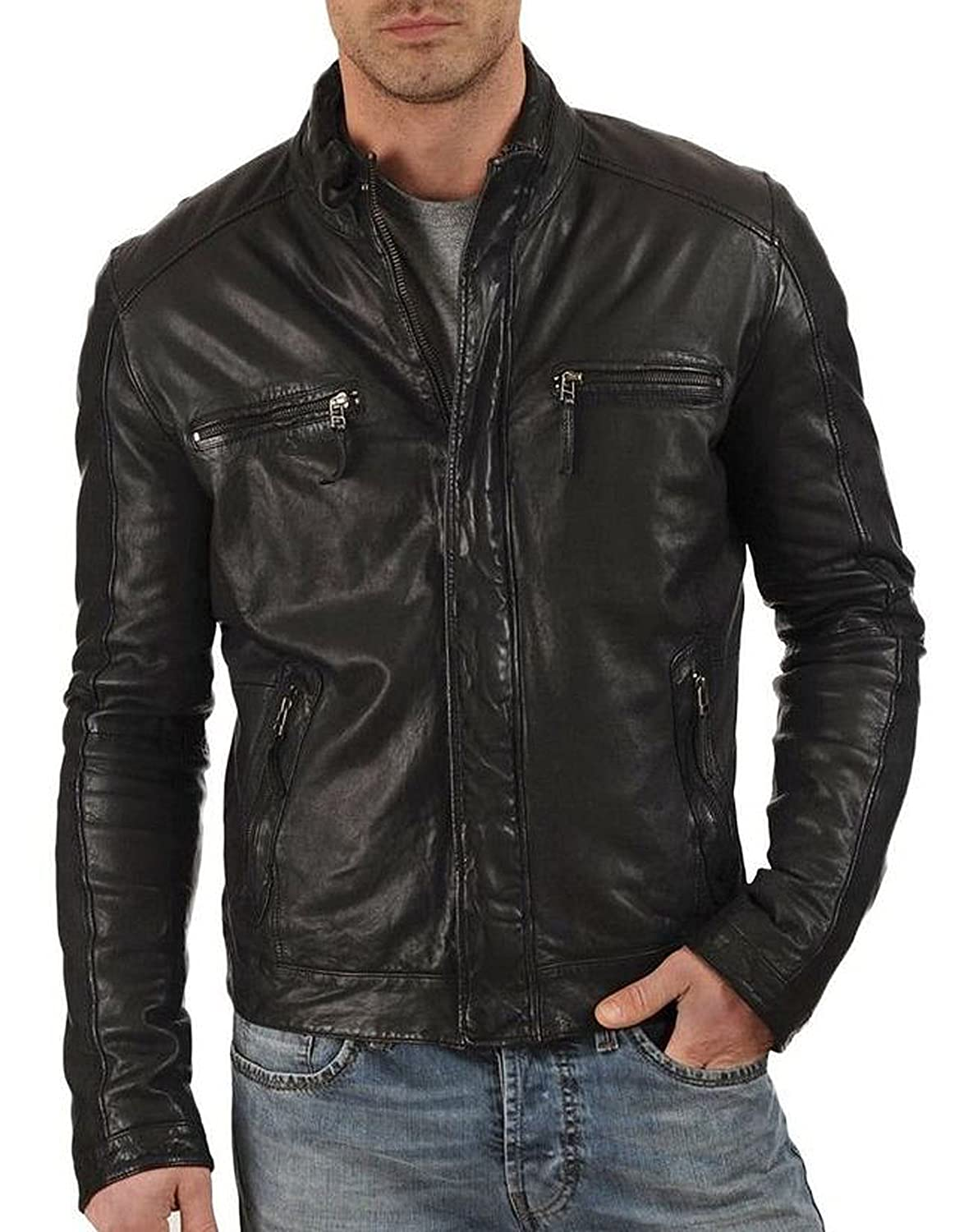 Authentic Leather Mens Lambskin Leather Motorcycle Biker Leather Jacket