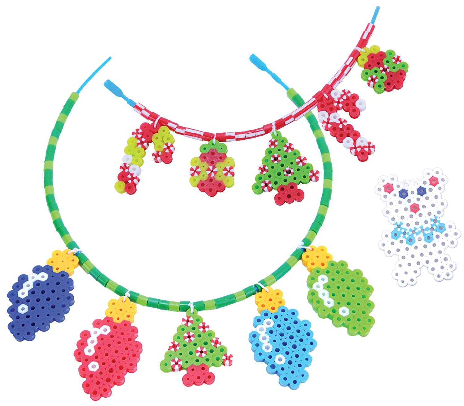 Festive necklace design made from fused beads with Christmas tree and ornaments
