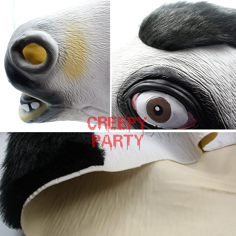 CreepyParty Festa in Costume di Halloween Maschera in Lattice a Testa di Animale Mucca Vacca