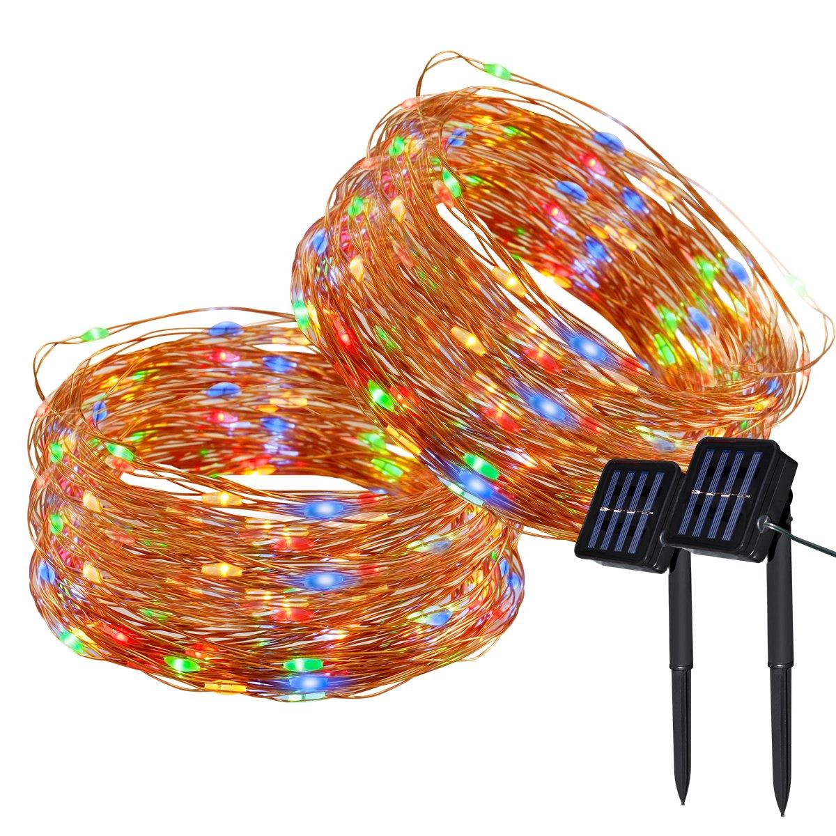 Yasolote 2 PACK Luz Solar 22M 200 LED Guirnalda de Luces 8 Modos de Luces de Alambre de Cobre Impermeable para Decoración de Fiestas, Bodas, Navidad, Exterior e Interior (Blanco Calido) [Clase de eficiencia energética A++]