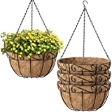 Amagabeli 4 Pack Hanging Baskets for Plants Planter Metal Outdoor 12 Inch with Coco Coir Liner Round Wire Plant Holder Chain