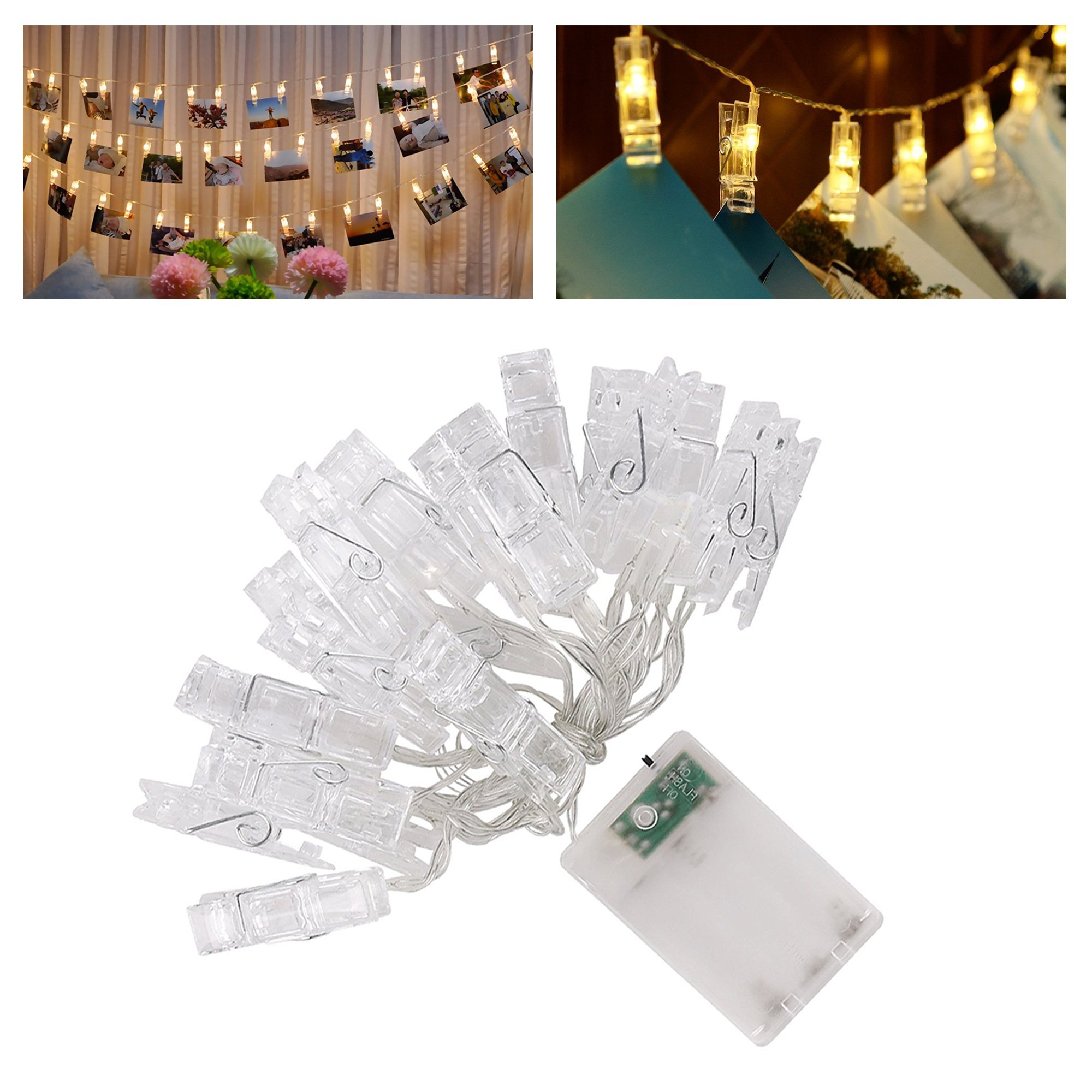 5m Hanging Picture Decoration Fairy Lights 20 Photo Clips String Lights in Warm White for Birthday Parties & Home Décor by Glift(TM) (Image #4)