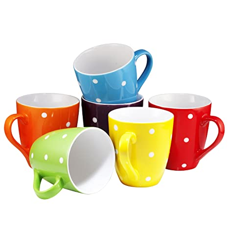 3e4c51cb3a0 Amazon.com: Coffee Mug Set Set of 6 Large-sized 16 Ounce Ceramic Coffee Mugs  Restaurant Coffee Mugs By Bruntmor (Polka Dot): Kitchen & Dining