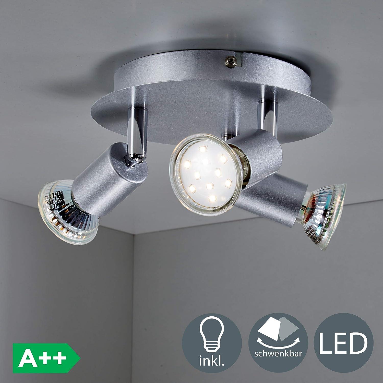 Lámpara de techo LED incl. 3x3W bombillas GU10, 230V, luz blanca cálida 3000K, Color titanio