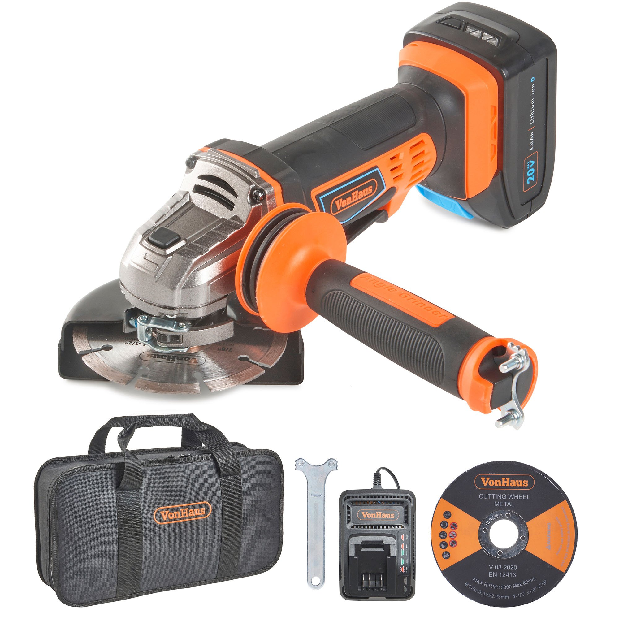 """VonHaus 20V MAX Cordless 4 1/2"""" Angle Grinder Set with 1x Cutting Disc, 1x Diamond Tipped Disc and Adjustable Auxiliary Handle - Includes 4.0Ah Lithium-ion Battery, Smart Charger and Power Tool Bag"""