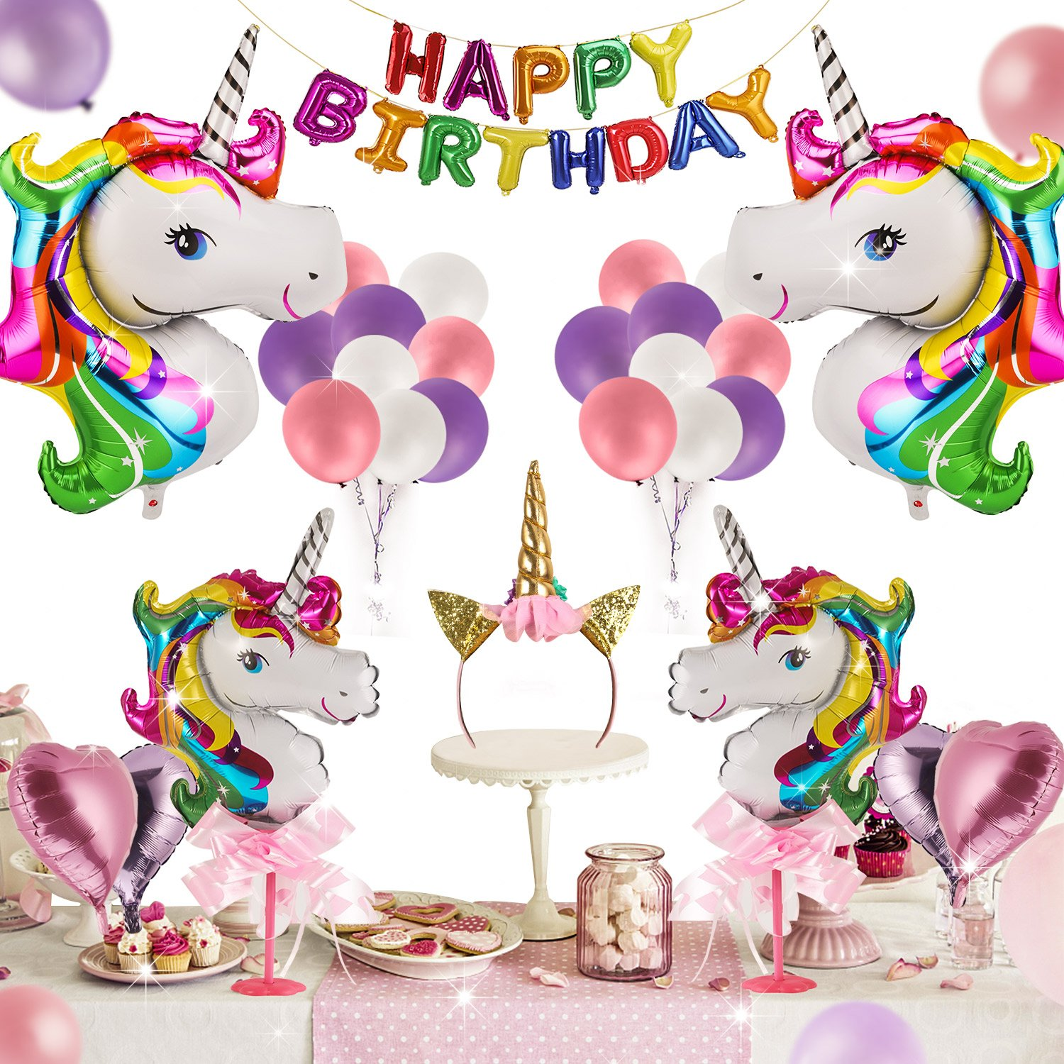 Unicorn Party Supplies - 42 Pcs for Birthday Decorations,Birthday party favors for kids,Rainbow birthday banner,Glitter Unicorn Headband,foil heart Birthday balloons with Air Pump by Gemwi