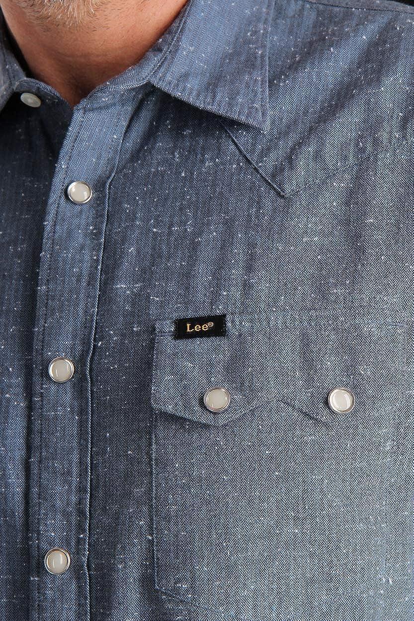 Lee – Camisa para hombre Refined Rider Regular Fit, diseño de rayas, color azul azul helado. M: Amazon.es: Ropa y accesorios