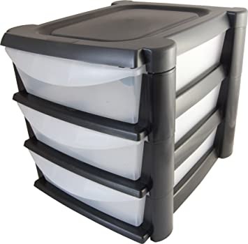 Black Plastic 3 Drawer Storage Tower Desk Organiser Tidy A4 Paper Letter  Trays