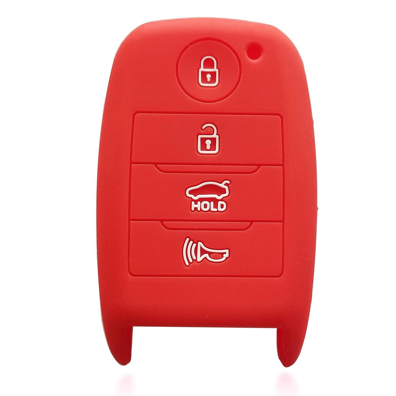 ドブレフ4ボタンシリコンケースキーFobプロテクターカバースマート車リモートホルダーfor Kia Optima ForteソレントR Rio レッド 3061 B072FP7D77 レッド レッド