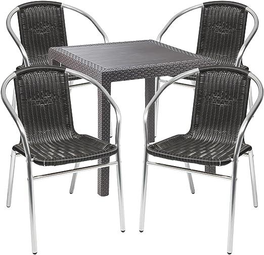 Mobiliario de jardín – 5 piezas – Mesa de jardín PLÁSTICO 79 x 79 h72 cm – + 4 sillas apilables – Plástico – Aluminio – Bistro Set – Comedor – Silla apilable: Amazon.es: Jardín