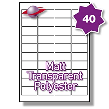 graphic regarding Small Printable Labels referred to as 40 For each Site/Sheet 5 Sheets (200 Tiny MATT Clear Sticky Labels) Label Planet® A4 Water-proof Distinct POLYESTER Long-lasting Self-Adhesive Blank Matte