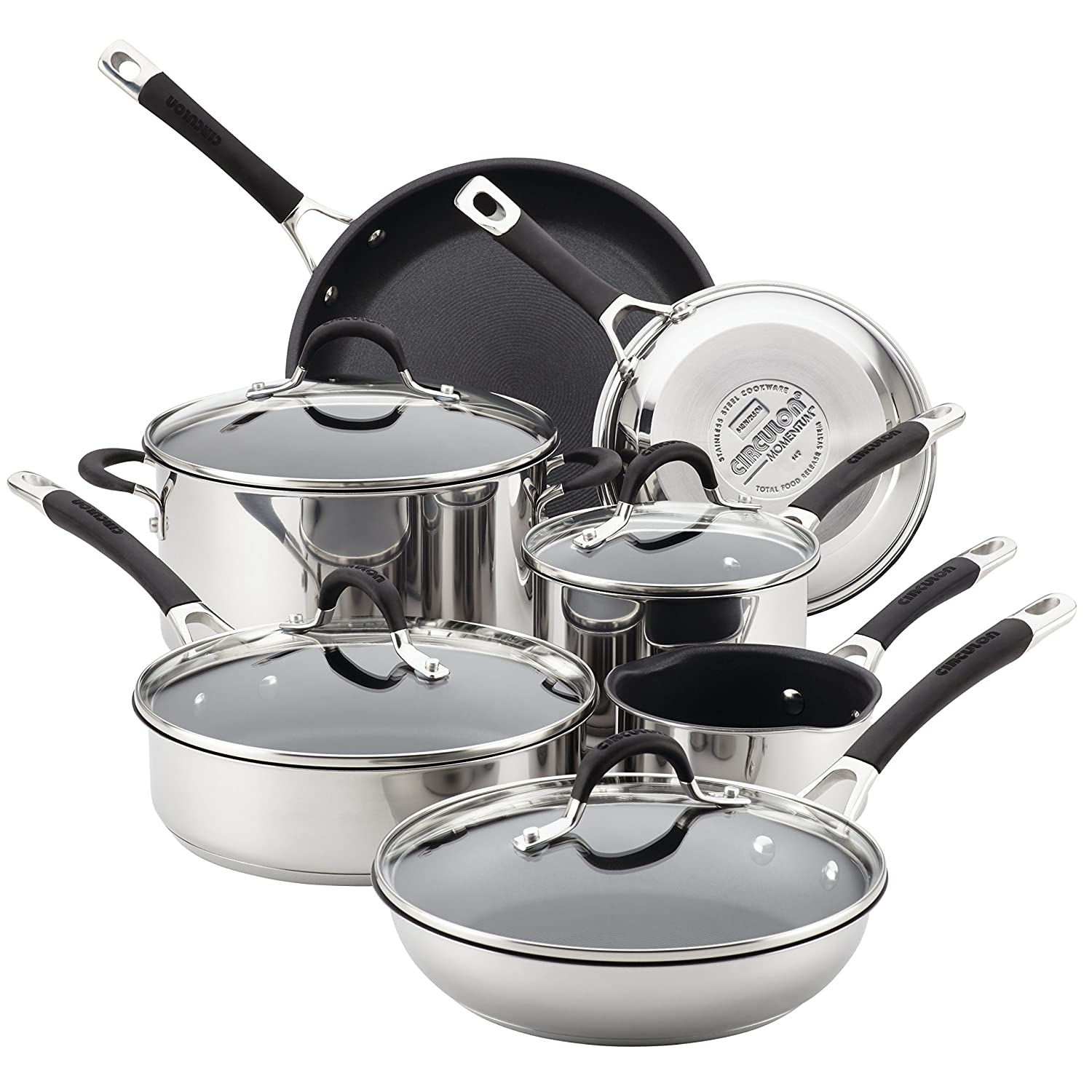 Circulon Momentum Stainless Steel Nonstick 11-Piece Pots and Pans Cookware Set