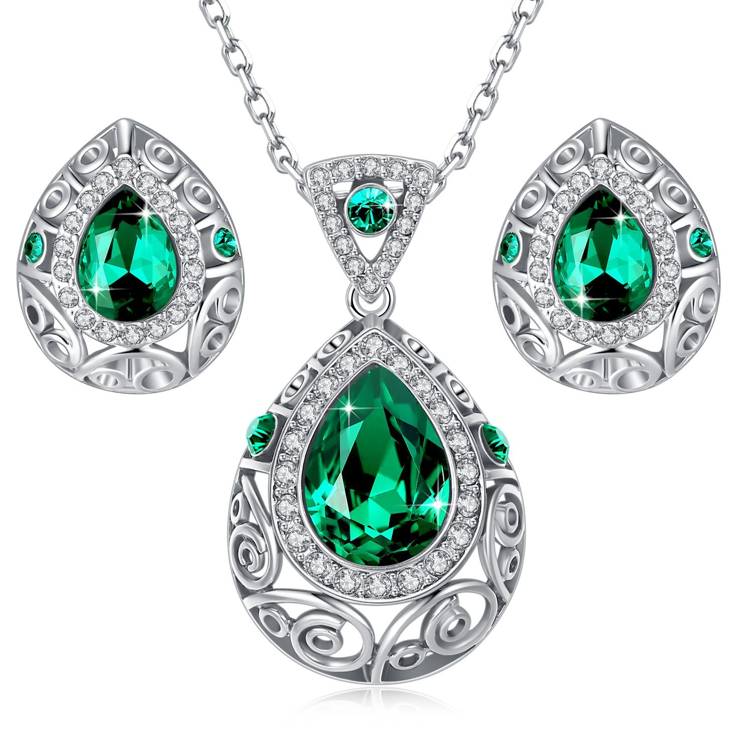 Leafael [Presented by Miss New York] Silver-tone Teardrop Filigree Vintage Style Emerald Green Pendant Necklace Made with Swarovski Crystals Earrings Set, 18'' + 2'', Nickel/Lead/Allergy Box