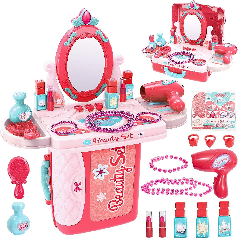 Buyger 3 en 1 Kit Maquillaje Niñas Maletin Belleza Peluqueria Tocador Juguete con Secador de Pelo Joyería Espejo Accesorios: Amazon.es: Juguetes y juegos