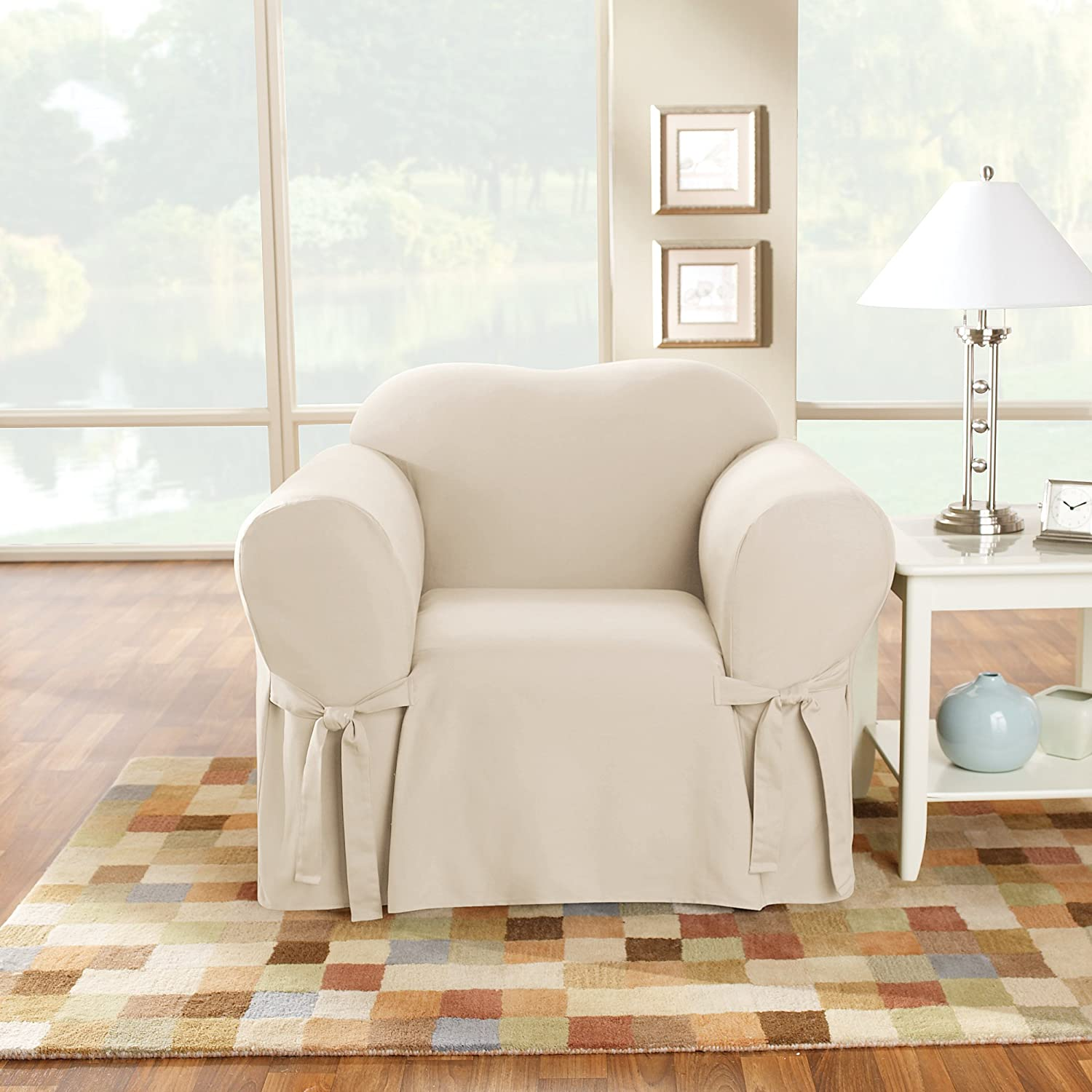 Amazon.com: Sure Fit algodón pato Loveseat Slipcover ...