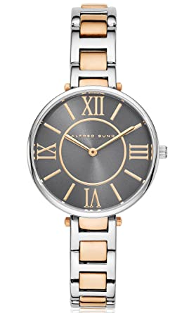Alfred Sung Silhouette Womens Two Tone Stainless Steel Bracelet | Analog Water-Resistant Wrist Watch