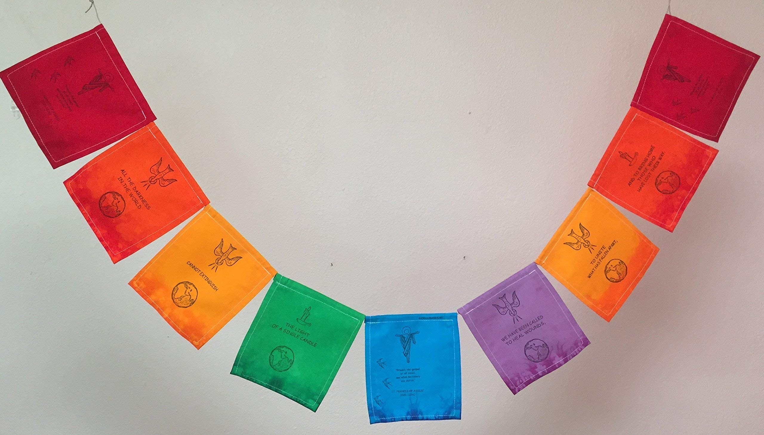St. Francis of Assisi Prayer Flag. All proceeds to families in Mexico.