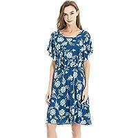 Bearsland Women's Summer Floral Cloak Design Maternity Breastfeeding Dress Nursing Dress
