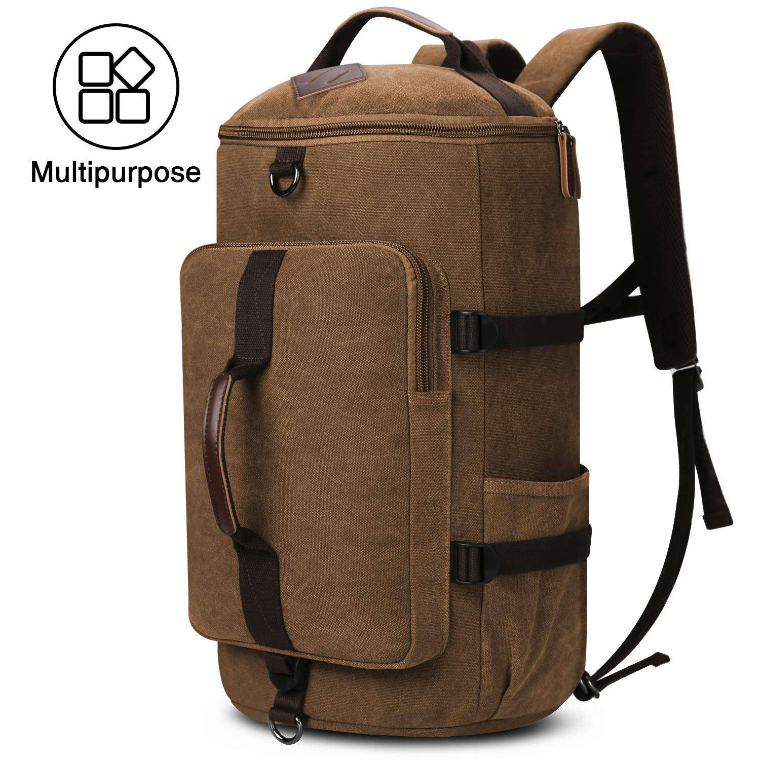 Travel Backpack, Yousu Large Canvas Backpack Vintage Travel Duffel Bags Classic Casual Daypack Duffle Bookbag for Men 3-In-1 Coffee