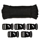 Tactical Paracord - 110 Feet Parachute Cord - 550 Cord Type III with Buckles and Paracord Fid, Utility Ropes Boat Lines by The Friendly Swede
