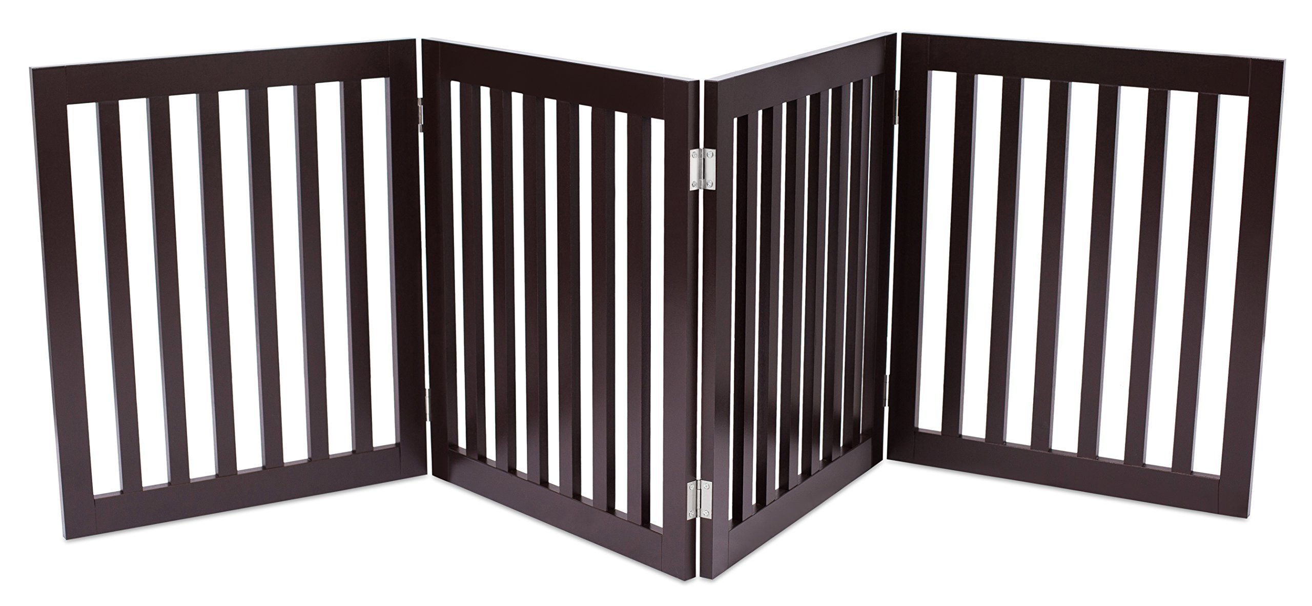 Internet's Best Traditional Pet Gate | 4 Panel | 24 Inch Step Over Fence | Free Standing Folding Z Shape Indoor Doorway Hall Stairs Dog Puppy Gate | Fully Assembled | Espresso | Wooden