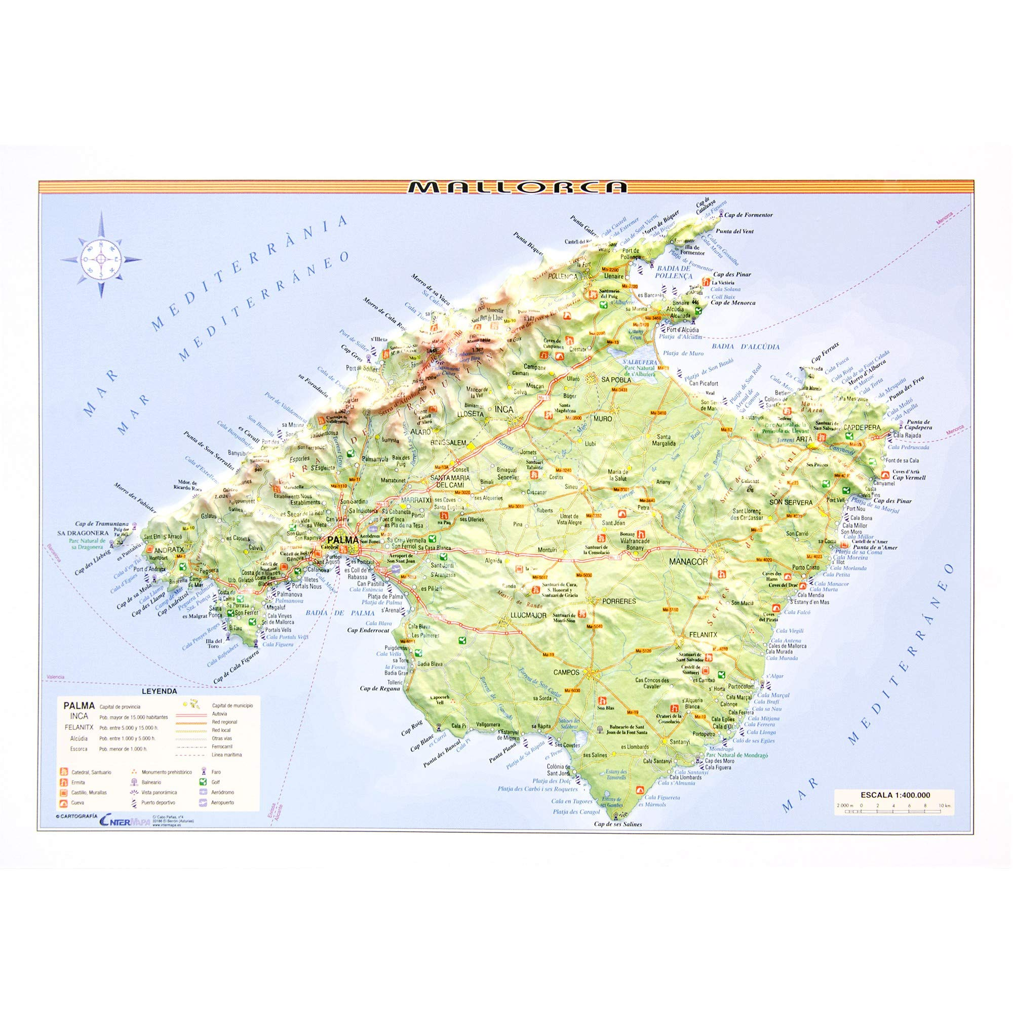 Mapa en relieve de Mallorca: Escala 1:400.000: Amazon.es: All 3D ...