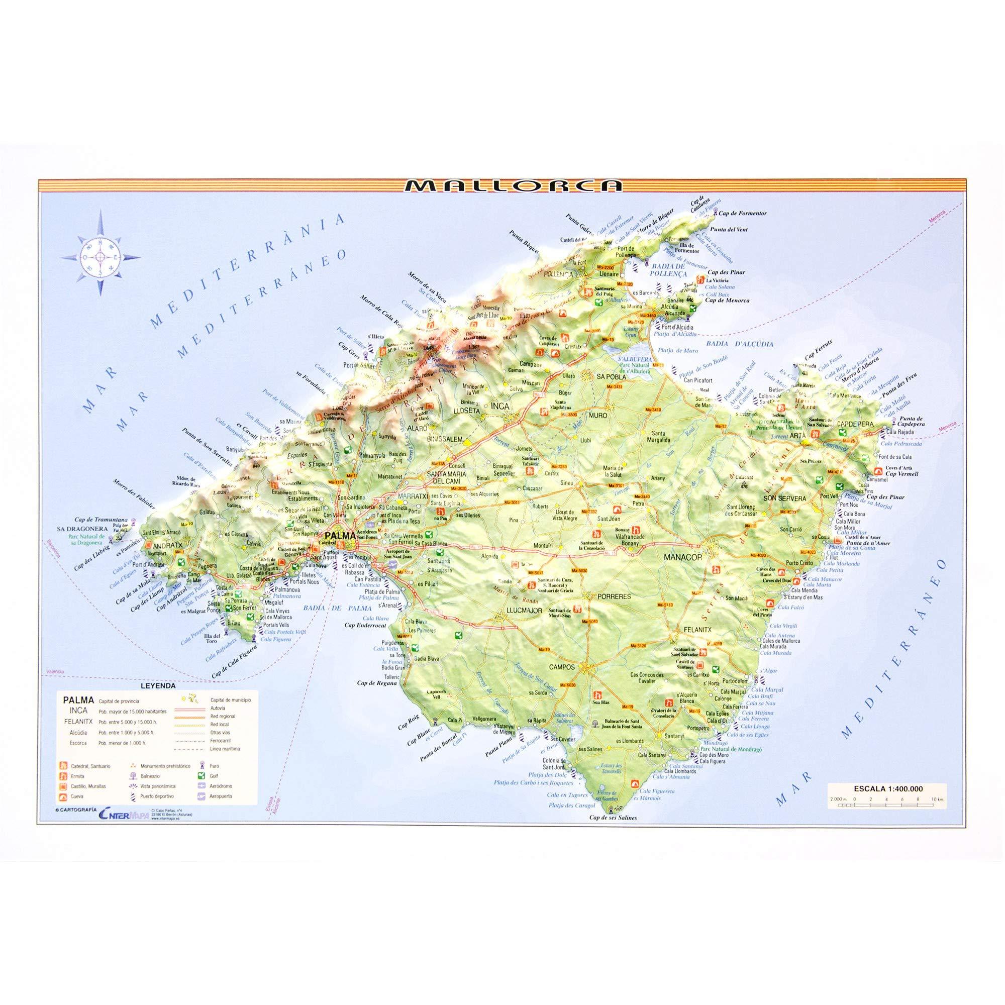Mapa en relieve de Mallorca: Escala 1:400.000: Amazon.es: All 3D Form, S.L.: Libros